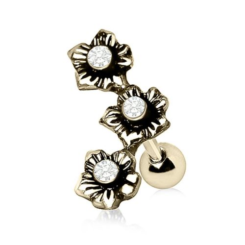Gold Plated Flower Cartilage Bar with Triple CZ Gems